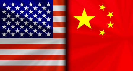 America usa vs China Conflicting Flags Economic war fight Background Image
