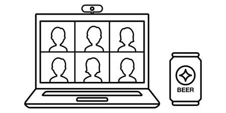 Vector illustration line drawing material of online drinking party video chat PC Illustration