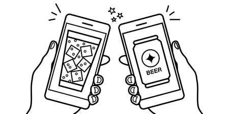 Vector illustration line drawing material of online drinking party video chat smartphone