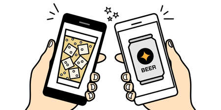 Vector illustration icon material of online drinking party video chat smartphone