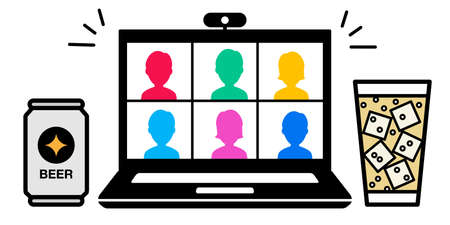 Vector illustration icon material of online drinking party video chat PC Illustration