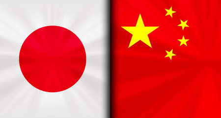 Japan vs China Conflicting Flags Economic war fight Background Image