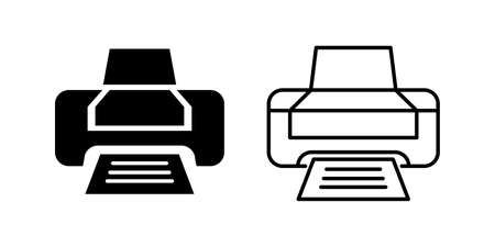 Printer Black and White Icon Print Vector Illustration Abstract