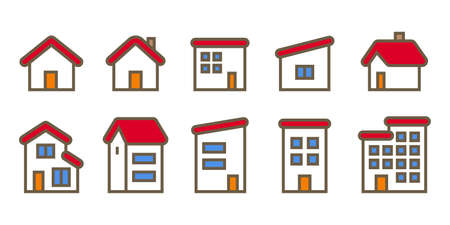 House home icon set red roof house illustration material vector design image