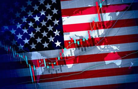 Background Design Chart materials for the U.S. Economic Global Market Imagens