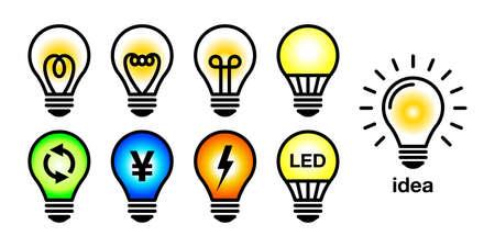 Bulb electric LED energy saving vector icon illustration set Ilustração