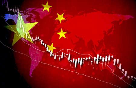 China Economy Global Market Background Design Chart Material graph illustration image