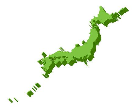 Japan Map 3D Vector 3D Illustration Material Green Travel design images Ilustração