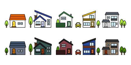 home and house icon set. vector simple flat illustration image Ilustração