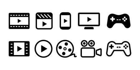Video movie vod streaming button play button icon set vector illustration. White black color Ilustração