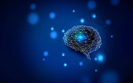 Knowledge, brain and artificial intelligence Communication image Background material Blue color