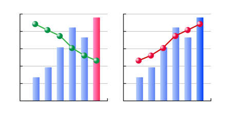 Icon illustration vector image of business performance forecast graph