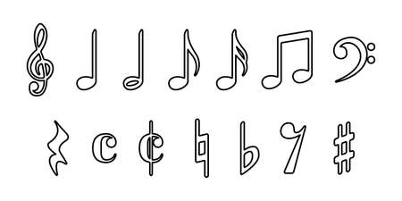 Vector icon illustration material black and white of musical note sounds