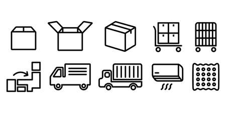 Vector icon illustration black and white of moving cardboard, truck, air conditioner
