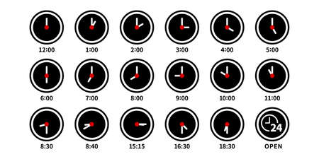 Analog clock 24 hours vector illustration icon set black and white red