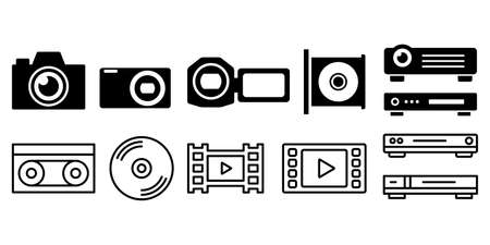 Video camera shooting recording vector illustration icon set black and white