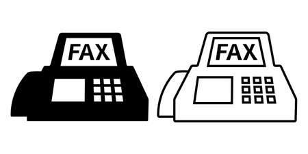 Fax vector icon illustration black and white material