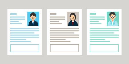 Resume Job Illustration Female Staff Recruitment Vector Icon Material