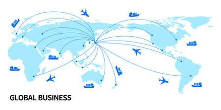 Illustration of trade business with map