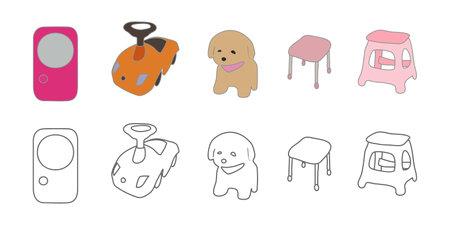 Vector illustration icon material for toys, stomping and children's goods Ilustração
