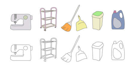 Vector illustration icon material of broom cleaning sewing machine take-out garbage out Ilustração