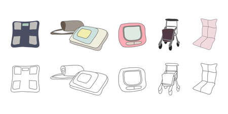 Vector illustration icon material for sphygmomanometer, scale, blood pressure measurement, health item