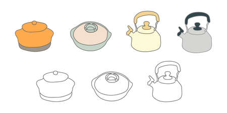 Vector illustration icon material of pot kettle Japanese cooking utensils