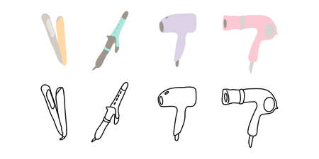 Vector illustration icon material for hair dryer, hair iron beauty Ilustração