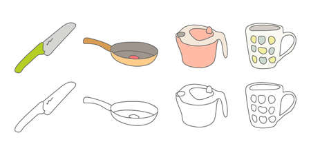 Vector illustration icon material for kitchen knives, frying pan kitchen utensils