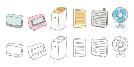 dishwasher, air purifier, fan, heater vector illustration icon material