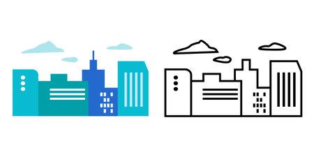 City, cityscape, city, city illustration icon vector set