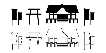 Shrine, torii, Japanese culture illustration icon vector set