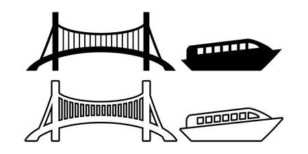 Bridge, ship illustration icon vector set