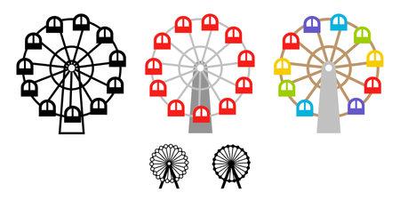 Cute Ferris wheel illustration icon vector set