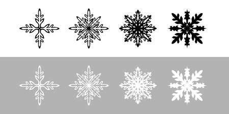 Black and white illustration icon vector set material of snowflake