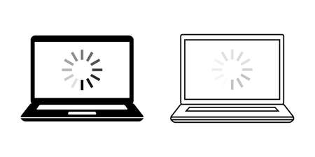 Laptop, notebook Illustration Icon Vector Set Material Loading