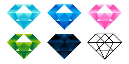 Jewel diamond illustration icon vector set
