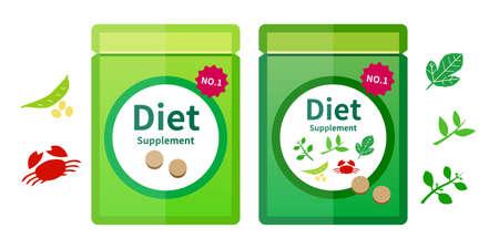Supplement, supplement, diet illustration icon vector set material