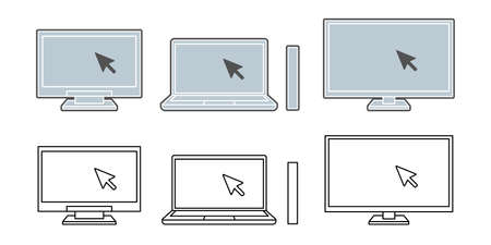 Laptop click cursor black and white icon illustration material