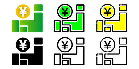 Map of Japan and tax, subsidy, subsidy, benefit vector icon illustration set
