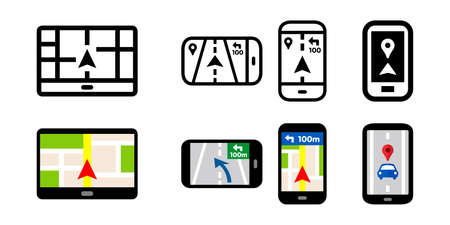 Car navigation and smartphone apps vector icon set illustration material