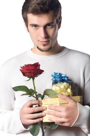 Young man with gifts and rose Stock Photo - 809559
