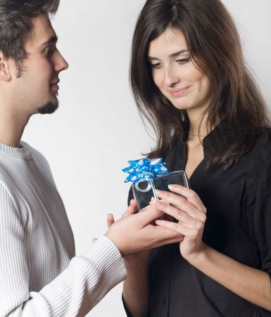 Young couple with gift box Stock Photo - 816603