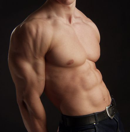 straight man:  torso of young muscular man       Stock Photo