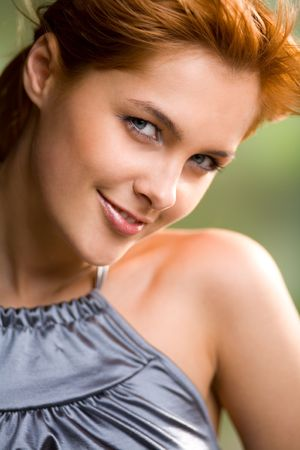 foxy girls: Portrait of happy lovely sweet smiling redhaired girl, outdoors Stock Photo