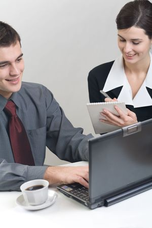 Bussinessman and businesswoman working at office Stock Photo - 835056