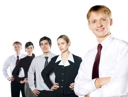 Group of young business people isolated on white. To provide maximum quality I made this image by combination of two photos. Stock Photo - 876906