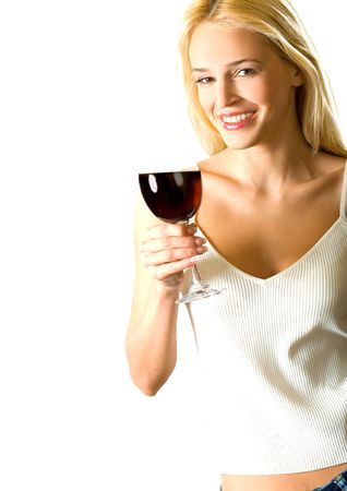 redwine: Young attractive happy smiling blond woman with red-wine glass, isolated on white background
