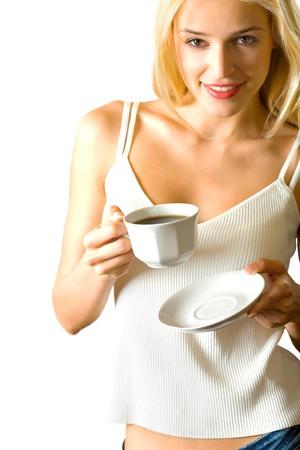 donna che beve il caff�: Attraente giovane donna bionda che beve caff�, isolati su sfondo bianco  Archivio Fotografico