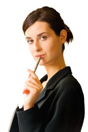 Donna bella giovane di affari isolata su bianco